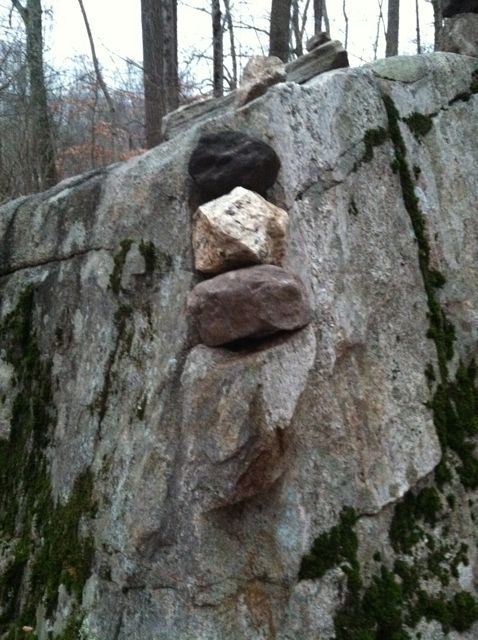 stacked rocks in a niche