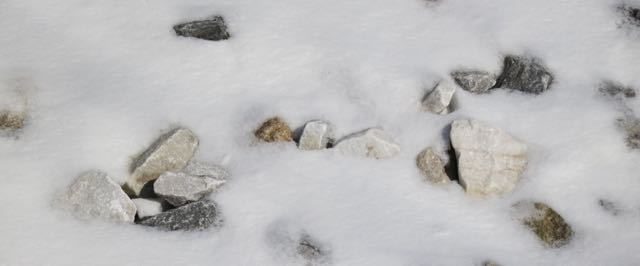 rocks in snow
