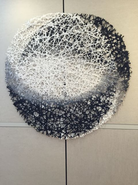 Snow Moon 52-in. diameter String, ink, and handmade paper